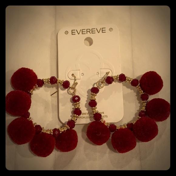 160da65fc5ae03 Evereve Jewelry | Red Pom Pom Hoop Earrings | Poshmark